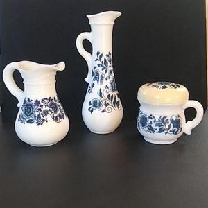 Milk Glass Delft Blue Set Avon